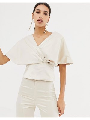 Club L wrap front flute sleeve top