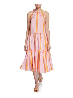 Club Monaco Amirra Tiered High-Neck Striped Dress