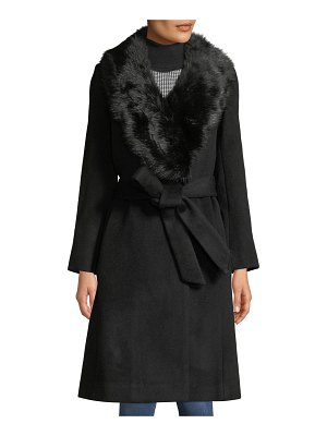 Club Monaco Lenoria Belted Wool Coat with Faux-Fur Collar