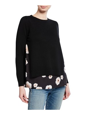 Club Monaco Petrah Wool Sweater with Floral-Print Underlay