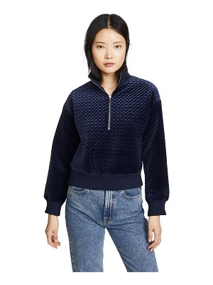 Club Monaco quilted velour quarter zip sweatshirt