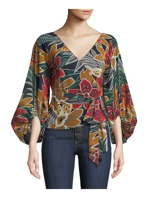 Club Monaco Riston Floral-Print Wrap Blouse