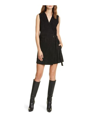 Club Monaco sleeveless suede wrap dress