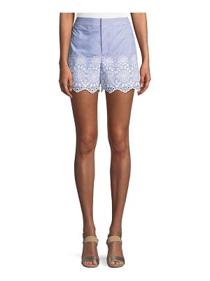 Club Monaco Vannah Scalloped Floral Eyelet Seersucker Shorts