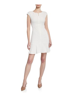 Club Monaco Wikendah Cap-Sleeve Zip-Front Short Dress