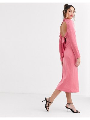 C/Meo Collective c/meo sqaure neck satin midi dress in pink