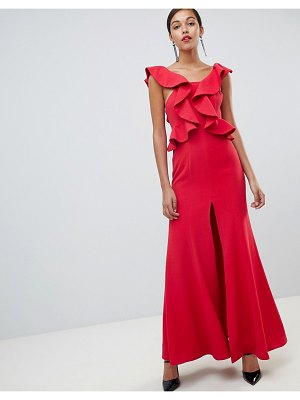 C/Meo Collective c/meo structured ruffle maxi gown