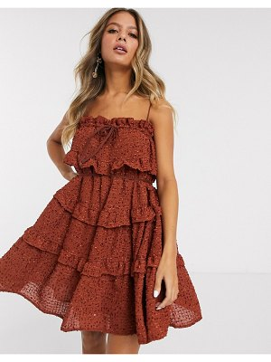 C/Meo Collective everything goes ruffle mini dress-red