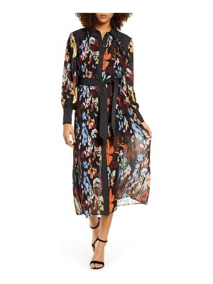 C/Meo Collective floral print long sleeve pleated chiffon shirtdress