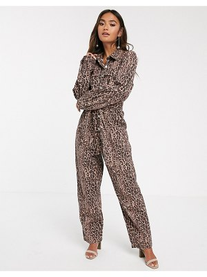 C/Meo Collective reiterate boilersuit in leopard denim-brown