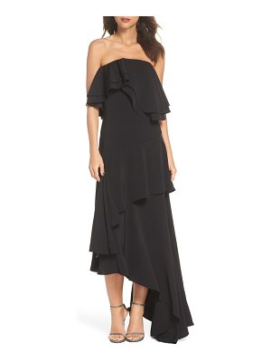 C/Meo Collective with you strapless asymmetric gown