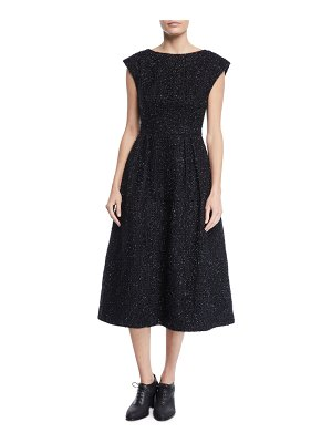 Co. Boat-Neck Cap-Sleeve Fit-and-Flare Metallic-Tweed Dress