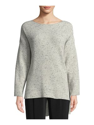 Co. Boat-Neck Long-Sleeve Speckle High-Low Cashmere Sweater