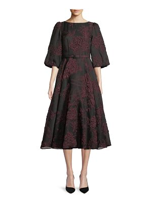 Co. Bubble-Sleeve Belted Floral-Jacquard Cocktail Dress