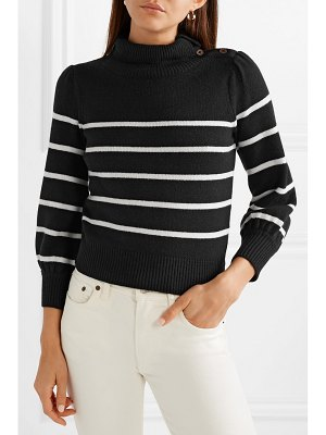 Co. button-detailed striped wool and cashmere-blend sweater