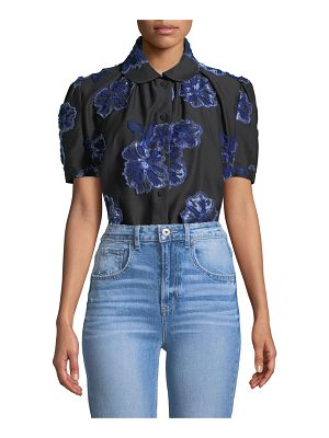 Co. Button-Down Floral-Embroidered Poplin Shirt