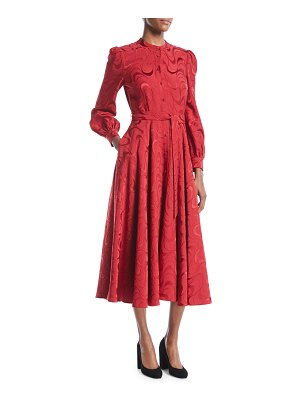 Co. Button-Down Long-Sleeve Spiral-Jacquard Midi Dress
