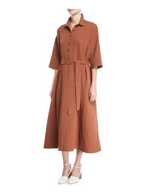 Co. Button-Front 1/2-Sleeves Tropical Cotton Long Shirtdress
