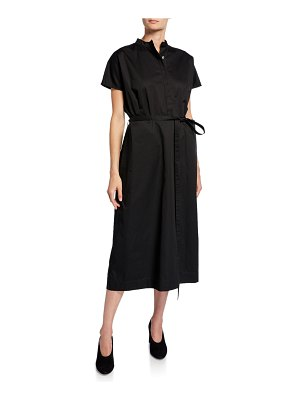 Co. Button-Front Cap-Sleeve Cotton Poplin Midi Dress