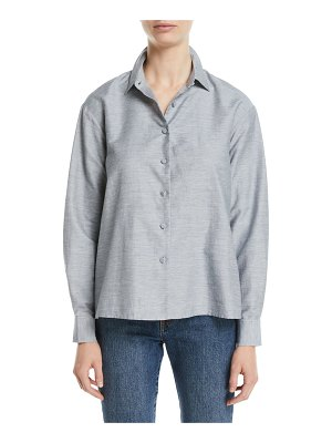 Co. Button-Front Long-Sleeve Pleated-Back Slub Linen Swing Shirt