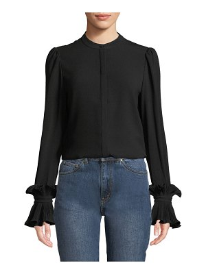 Co. Button-Front Plisse Pleated Cuff Crepe Blouse