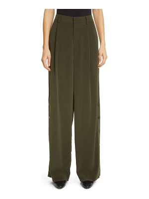 Co. button side pleated wide leg trousers