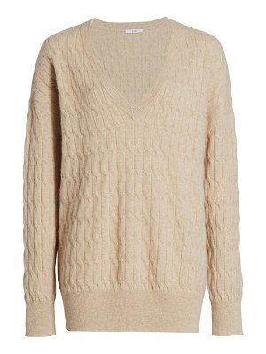 Co. cable knit v-neck cashmere sweater