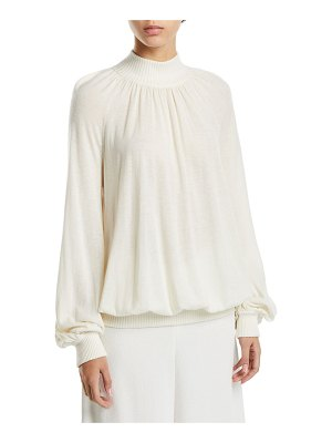 Co. Cashmere Blouson-Sleeve Mock-Neck Sweater