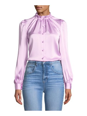 Co. Cinched-Neck Long-Sleeve Satin Blouse