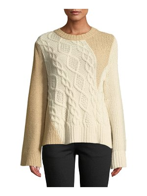 Co. Crewneck Long-Sleeve Patchwork Cable-Knit Tunic Sweater