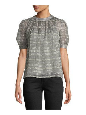 Co. Crewneck Short-Sleeve Metallic Rope-Stripe Top
