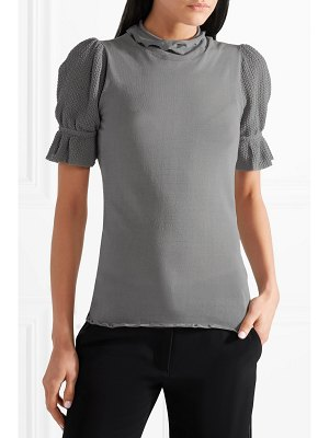 Co. crochet-trimmed stretch cotton-blend jersey turtleneck top