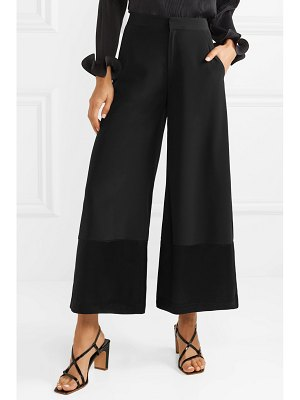 Co. cropped satin-trimmed crepe wide-leg pants