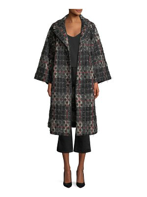 Co. Dot-Jacquard Plaid Knit Swing Coat w/ Frayed Threads