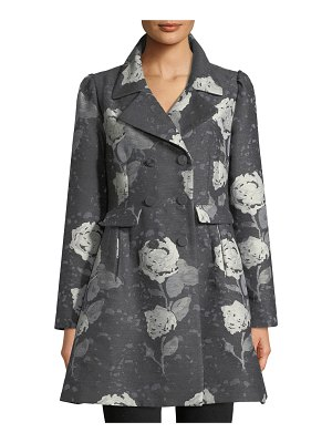 Co. Double-Breasted Floral-Jacquard Wool Car Coat