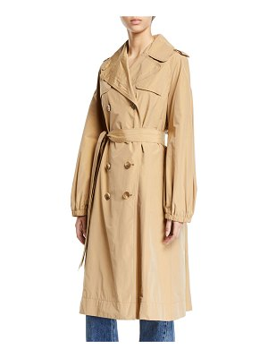Co. Double-Breasted Gathered Trench Coat