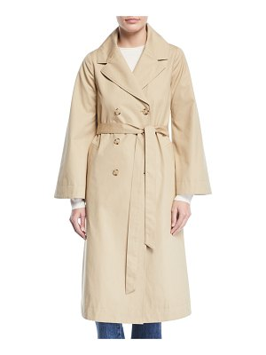 Co. Double-Breasted Portrait-Collar Belted Cotton Trench Coat