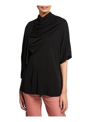 Co. Draped Cowl-Neck 1/2-Sleeve Tunic
