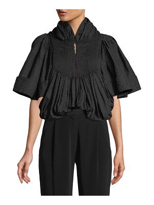 Co. Embroidered Voile Pleated Cropped Jacket