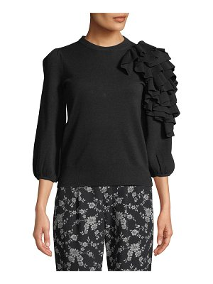 Co. Exaggerated Ruffle 3/4-Sleeve Merino Wool Sweater