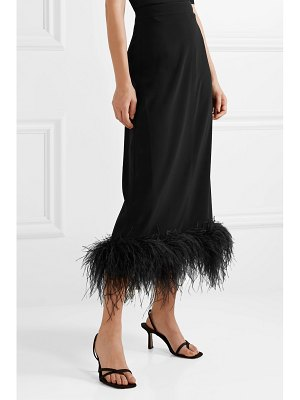 Co. feather-trimmed crepe midi skirt