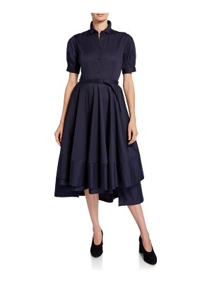 Co. Flared Short-Sleeve Sateen Cotton Dress