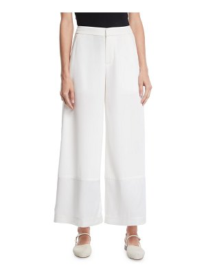 Co. Flat-Front Wide-Leg Pants w/ Contrast Hem