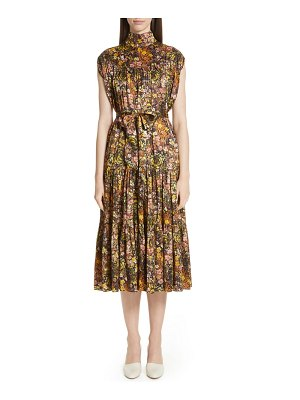 Co. floral high neck silk dress