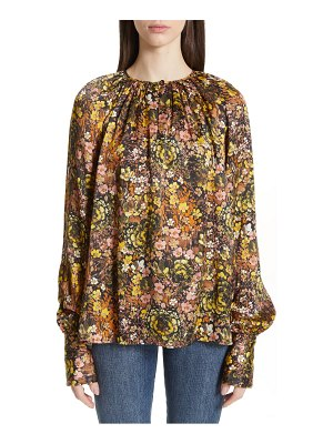 Co. floral silk peasant top