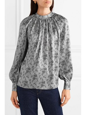 Co. gathered floral-print silk-charmeuse blouse
