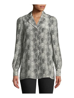 Co. Long-Sleeve Button-Front Balloon-Print Tunic Blouse