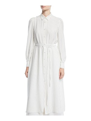 Co. Long-Sleeve Button-Front Belted Striped Satin Long Shirtdress