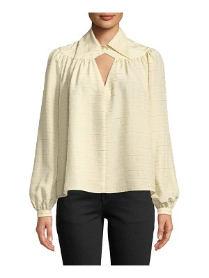 Co. Long-Sleeve Diamond-Keyhole Yoked Striped Silk Blouse
