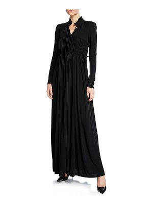 Co. Long-Sleeve Ruched Drawstring Gown